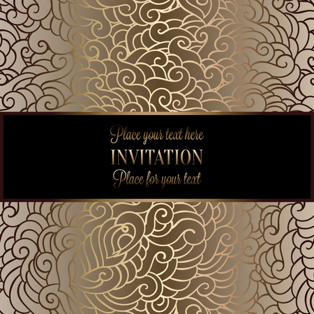 Romantic background with antique, luxury black, beige and gold vintage frame, victorian banner, made of feathers wallpaper ornaments, invitation card, baroque style booklet, fashion pattern.