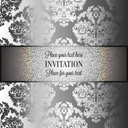 Baroque background with antique, luxury gray and solver vintage frame, victorian banner, damask floral wallpaper ornaments, invitation card, baroque style booklet, fashion pattern, template for design. Illustration