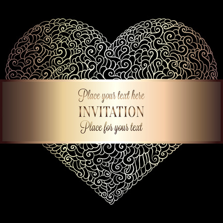 luxuries: Romantic background with antique, luxury black, beige and gold vintage frame, victorian banner, heart made of feathers wallpaper ornaments, invitation card, baroque style booklet, fashion pattern.