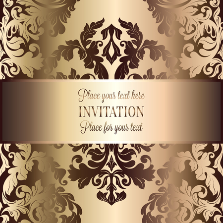 luxuries: Abstract background with roses, luxury beige and gold vintage frame, victorian banner, damask floral wallpaper ornaments, invitation card, baroque style booklet, fashion pattern, template for design.