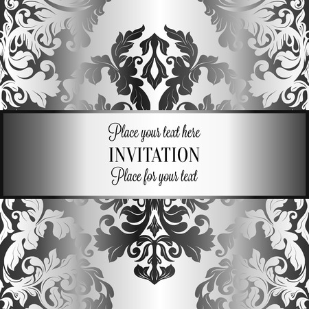 luxuries: Abstract background with roses, luxury gray and metal silver vintage frame, victorian banner, damask floral wallpaper ornaments, invitation card, baroque style booklet, fashion pattern, template for design.