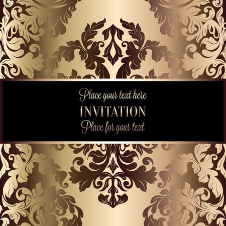 luxuries: Abstract background with luxury beige and gold vintage frame, victorian banner, damask floral wallpaper ornaments, invitation card, baroque style booklet, fashion pattern, template for design.