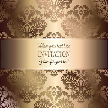 luxuries: Baroque background with antique, luxury beige and gold vintage frame, victorian banner, damask floral wallpaper ornaments, invitation card, baroque style booklet, fashion pattern, template for design. Illustration