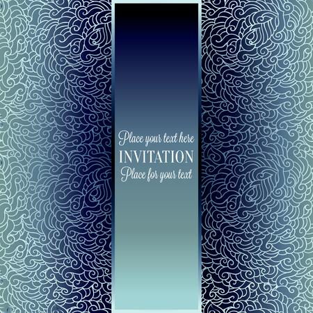 Romantische achtergrond met luxe blauwe vintage frame, Victoriaanse banner, gemaakt van veren behang ornamenten, uitnodigingskaart, barokke stijl boekje, mode patroon.