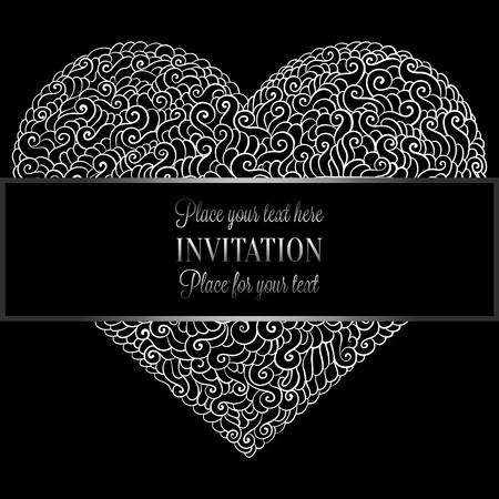 Romantic background with antique, luxury black and metal silver vintage card, victorian banner, heart made of doodle swirls wallpaper ornaments, invitation card, baroque style booklet with text love.