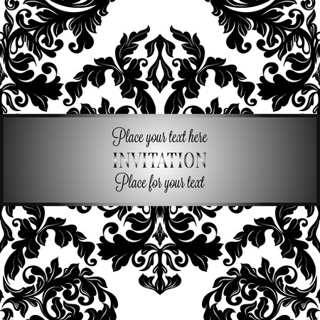 luxuries: Baroque background with antique, luxury black and white vintage frame, victorian banner, damask floral wallpaper ornaments, invitation card, baroque style booklet, fashion pattern, template for design.