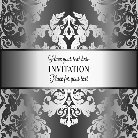 luxuries: Baroque background with antique, luxury gray and metal silver vintage frame, victorian banner, damask floral wallpaper ornaments, invitation card, baroque style booklet, fashion pattern. Illustration