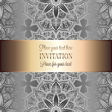 luxuries: Romantic background with antique, luxury gray, metal silver and shiny gold vintage frame, victorian banner, intricate exquisite rococo wallpaper ornaments, invitation card, baroque style booklet, gothic.