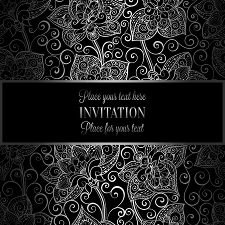 Victorian Background With Antique Luxury Black And Silver Vintage Frame Banner Damask