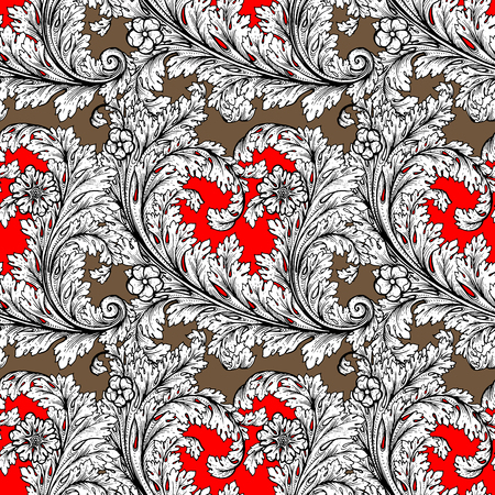 vector element: Vector baroque seamless pattern element. Classical luxury old fashioned damask ornament, royal victorian seamless texture for wallpapers, textile, wrapping. Exquisite floral baroque tracery.