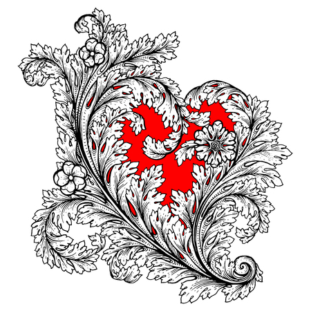 Decorative stylized heart in baroque, royal style. Perfect for greeting card for valentine day, invitation or banner. Vector illustration. Outline drawing. Coloring book for adult.