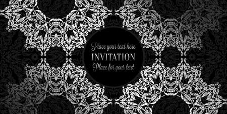 Luxury ornament, lace in antique black and silver colors with vintage frame, victorian style invitation, wedding or greeting card, baroque background pattern, rich silver decor, perfect design template.