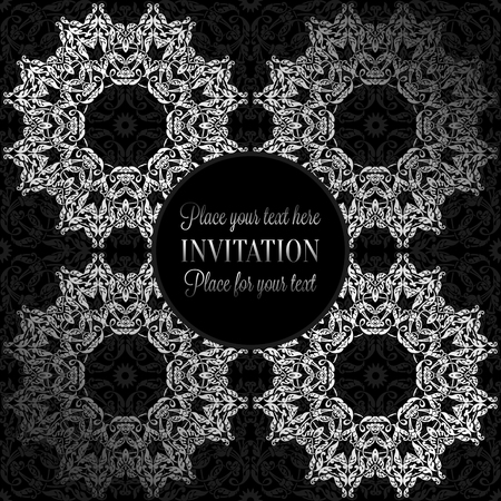 baroque border: Luxury ornament, lace in antique black and silver colors with vintage frame, victorian style invitation, wedding or greeting card, baroque background pattern, rich silver decor, perfect design template.