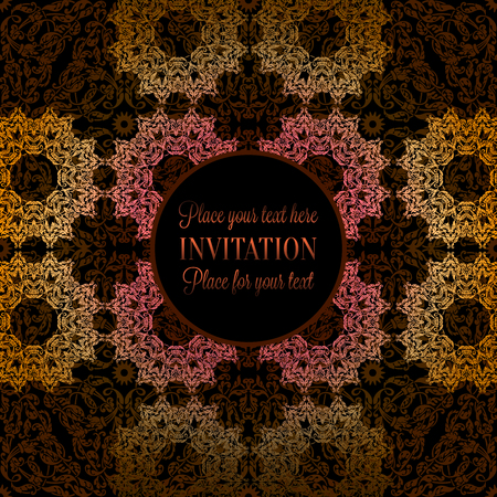 Luxury ornament, lace in pink, gold and yellow colors with vintage frame, victorian style invitation, wedding or greeting card, baroque background pattern, rich decor, perfect design template.