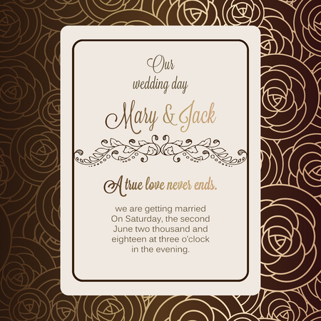 royal wedding: Antique baroque luxury wedding invitation, gold and chocolate brown background with frame made of roses and place for text, lacy foliage with shiny gradient