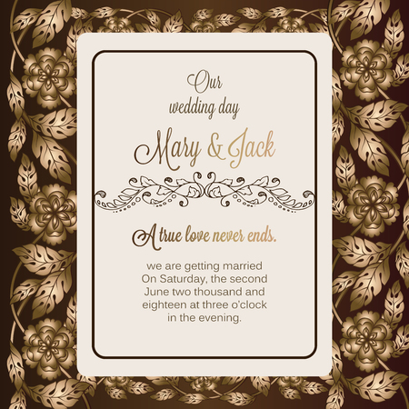 royal wedding: Antique baroque luxury wedding invitation, gold and chocolate brown background with frame and place for text, lacy foliage with shiny gradient