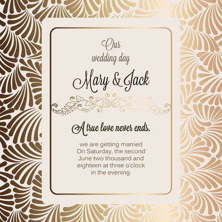 Antique baroque luxury wedding invitation, gold on beige background with frame and place for text, lacy foliage with shiny gradient