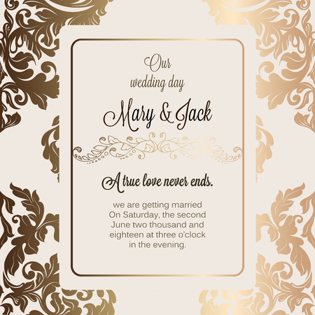 baroque border: Antique baroque luxury wedding invitation, gold on beige background with frame and place for text, lacy foliage with shiny gradient