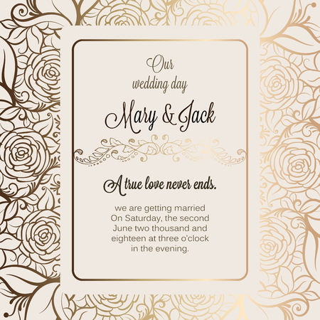 Antique baroque luxury wedding invitation, gold on beige background with frame and place for text, lacy foliage made of roses with shiny gradient Illustration