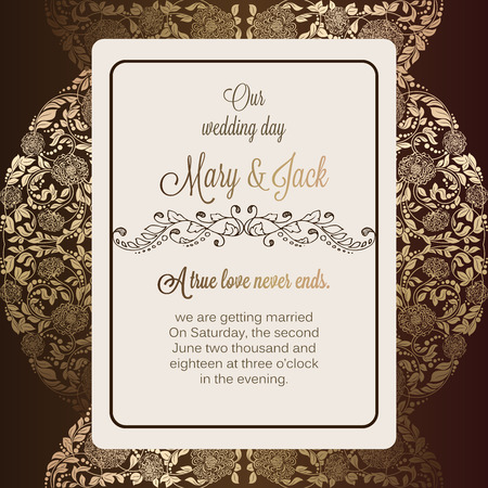 baroque border: Antique baroque luxury wedding invitation, gold and chocolate brown background with frame and place for text, lacy foliage with shiny gradient