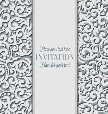 royal wedding: Vector floral swirls decorated invitation card. Abstract 3D background design template with place for text. White simple lace with shadow, paper cut effect