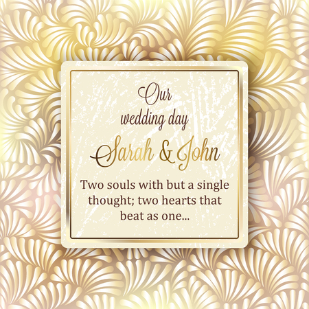traditional pattern: Intricate baroque luxury wedding invitation card, rich gold decor on beige background with frame and place for text, lacy foliage with shiny gradient