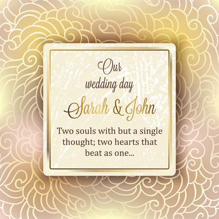 baroque border: Intricate baroque luxury wedding invitation card, rich gold decor on beige background with frame and place for text, lacy foliage with shiny gradient