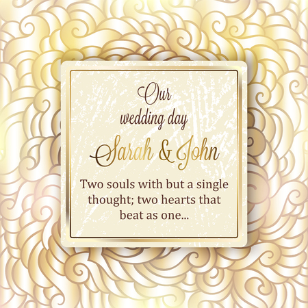 royal wedding: Intricate baroque luxury wedding invitation card, rich gold decor on beige background with frame and place for text, lacy foliage with shiny gradient