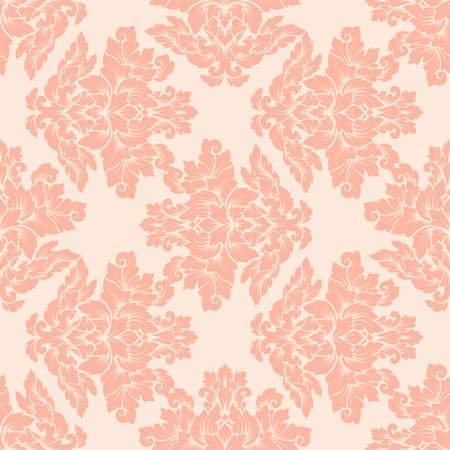 peachy: Damask seamless pattern intricate design. Luxury royal ornament, victorian texture for wallpapers, textile, wrapping . Exquisite floral baroque lacy flourish in vintage peachy colors. Illustration
