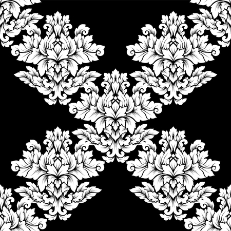 Damask seamless pattern intricate design. Luxury royal ornament, victorian texture for wallpapers, textile, wrapping. Exquisite floral baroque lacy flourish in black and white monochrome colors.