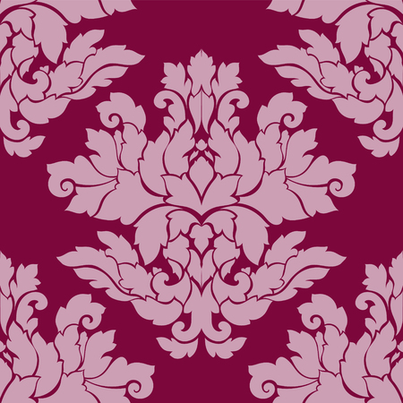 Damask seamless pattern intricate design. Luxury royal ornament, victorian texture for wallpapers, textile, wrapping. Exquisite floral baroque lacy flourish in vintage deep red color.