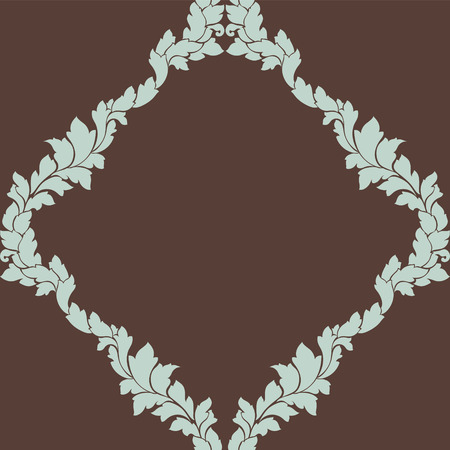 Damask seamless pattern intricate design. Luxury royal ornament, victorian texture for wallpapers, textile, wrapping. Exquisite floral baroque lacy flourish repeating tile in brown and light blue. Illustration