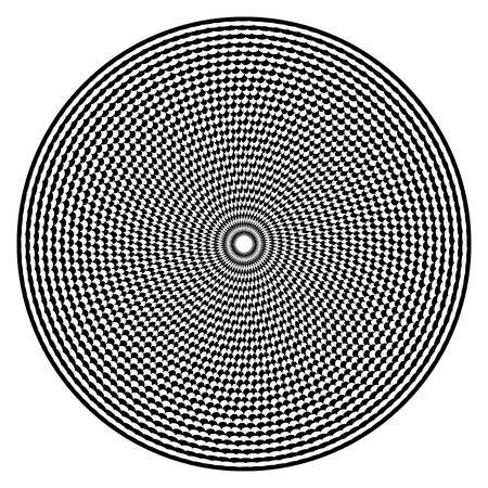 Optical illusion art abstract background. Black and white monochrome geometrical hypnotic circle pattern