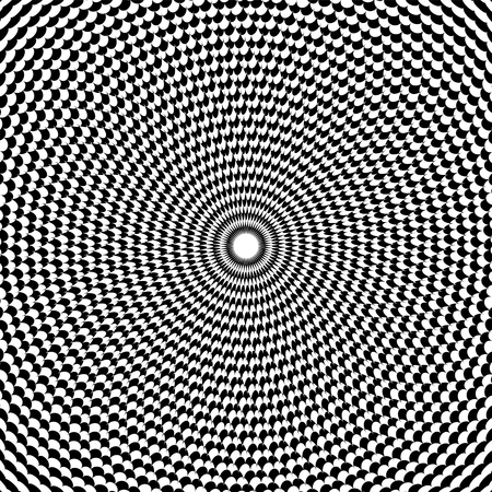 trickery: Optical illusion art abstract background. Black and white monochrome geometrical hypnotic circle pattern