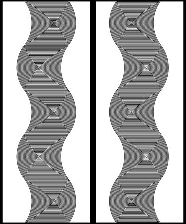 Optical illusion art abstract background. Black and white monochrome geometrical hypnotic wavy pattern for two doors or windows Illustration