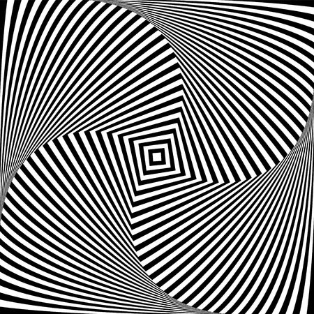 Optical illusion art abstract background. Black and white monochrome geometrical hypnotic square pattern Illustration