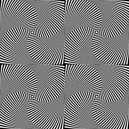 Optical illusion art abstract background. Black and white monochrome geometrical hypnotic seamless pattern Illustration