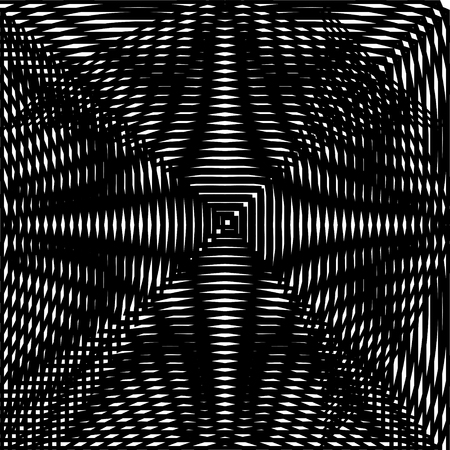 trickery: Optical illusion art abstract background. Black and white monochrome geometrical hypnotic square pattern Illustration