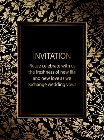 Bloemenuitnodigingskaart of achtergrond met antiquiteit, luxe zwart en gouden uitstekend kader, victorian banner, uitstekend behangornament, barok stijlboekje, manierpatroon, malplaatje voor ontwerp.