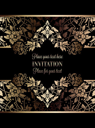 exclusive: Floral invitation card or background with antique, luxury black and gold vintage frame, victorian banner, exquisite wallpaper ornament, baroque style booklet, fashion pattern, template for design. Illustration