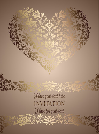 exclusive: Floral invitation card with antique, luxury beige and gold vintage frame and big ornamental heart,victorian banner,exquisite wallpaper ornament, baroque style booklet,fashion pattern, design template.