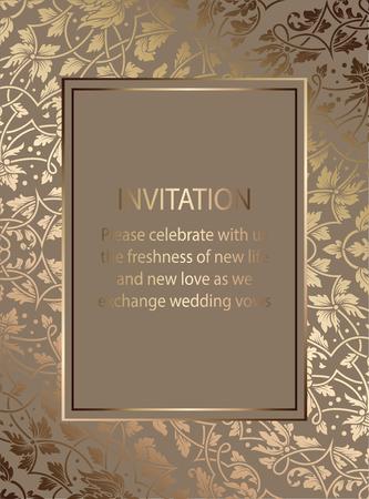 Carte d'invitation floral ou fond avec antique, cadre vintage beige et or de luxe, bannière victorienne, ornement exquis de papier peint, livret de style baroque, modèle de mode, modèle pour la conception.