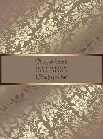exclusive: Floral invitation card or background with antique, luxury beige and gold vintage frame, victorian banner, exquisite wallpaper ornament, baroque style booklet, fashion pattern, template for design. Illustration