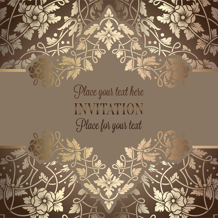 Floral invitation card or background with antique, luxury beige and gold vintage frame, victorian banner, exquisite wallpaper ornament, baroque style booklet, fashion pattern, template for design. Illustration