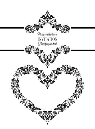 Floral invitation card with antique, luxury black and white vintage frame and big ornamental heart, victorian banner, exquisite wallpaper ornament,  baroque style booklet, fashion pattern, design template. Illustration