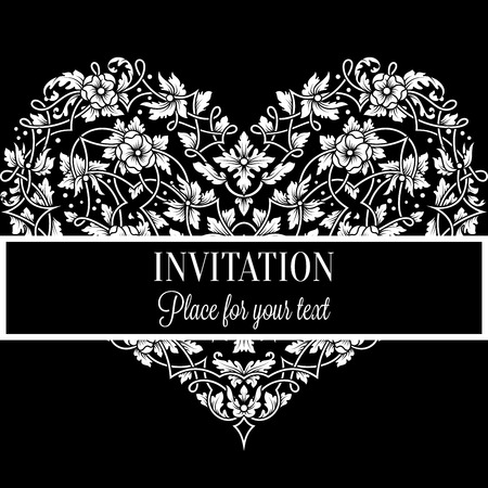 Floral invitation card with antique, luxury black and white vintage frame and big ornamental heart,victorian banner,exquisite wallpaper ornament, baroque style booklet,fashion pattern,design template.