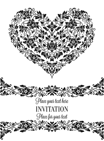 Floral invitation card with antique, luxury black and white vintage frame and big ornamental heart.