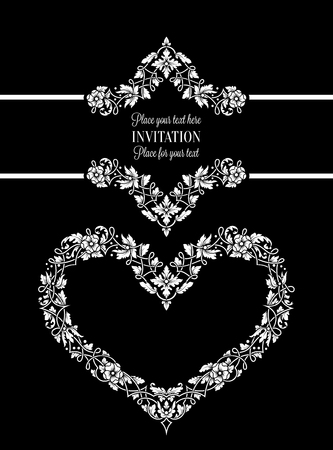 exclusive: Floral invitation card with antique, luxury black and white vintage frame and big ornamental heart,victorian banner,exquisite wallpaper ornament, baroque style booklet,fashion pattern,design template.