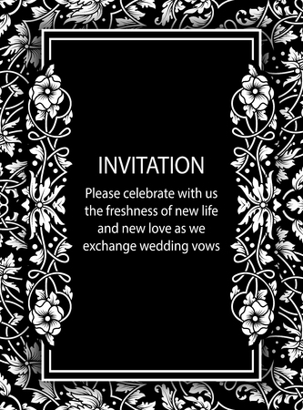 exclusive: Floral invitation card with antique, luxury black and white vintage frame and ornamental lacy background,victorian banner,exquisite wallpaper ornament, baroque style fashion pattern, design template.
