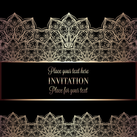 exclusive: Floral invitation card or background with antique, luxury black and gold vintage frame, victorian banner,intricate wallpaper lacy ornament, baroque style booklet,fashion pattern, template for design. Illustration